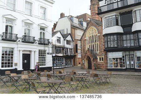 Buildings at Cathedral Close in the centre of Exeter Devon