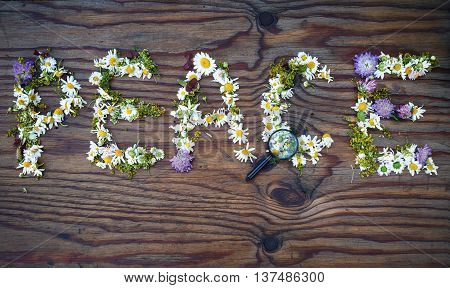 Inscription peace made of flowers and leaves on vintage wooden table background. Word peace made of flowers.Top view.
