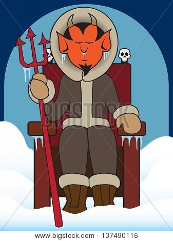 Devil sitting on his throne in a frozen hell