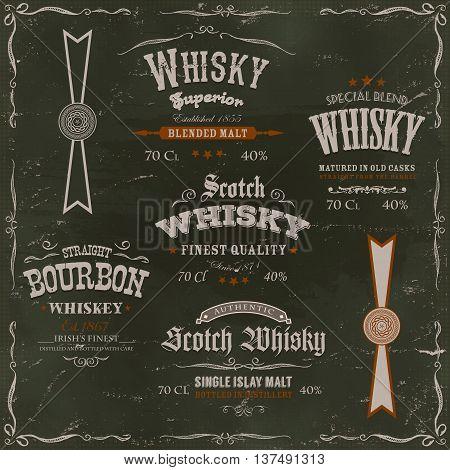 Illustration of a vintage design set of whisky drinks and beverage labels with textures celtic patterns and label for bottle on chalkboard background