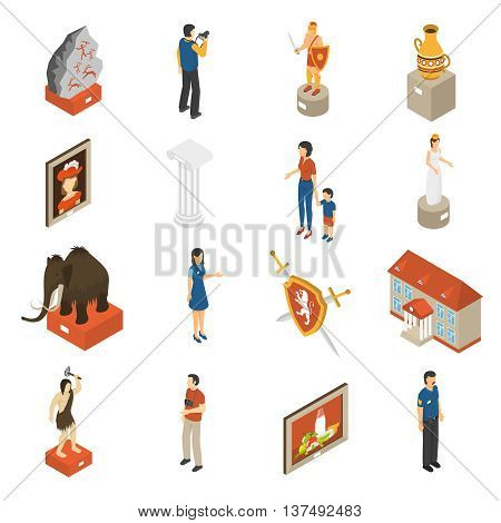 Historical museum building ancient exhibits paintings and visitors isometric icons collection with mammoth abstract isolated vector illustration