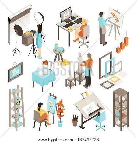 Art photo design studio isometric set with equipment interior objects artist graphic designer photographer and sculptor on white background isolated vector illustration