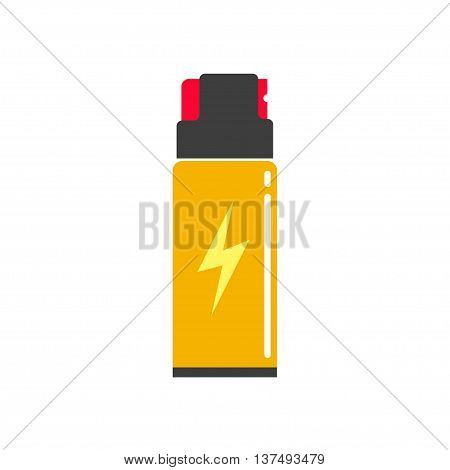 Self defense spray can vector illustration, flat icon, self-defense pepper bottle, concept of human protection technology, safety equipment, security modern design isolated on white