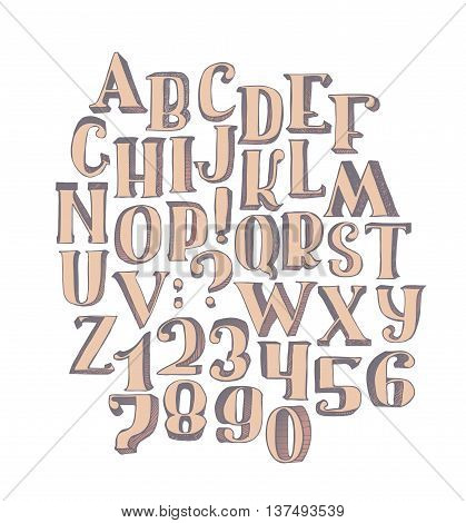 Large collection with handdrawn alphabet with letters sequence from A to Z and numbers sequence from 0 to 9. Vector illustration bright isolated on white background hand drawn with brush in 3d.