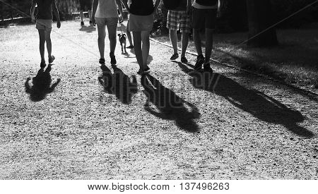 Shadows of four people on sand pavement. People shadows on the sand, artistic photo in black and white, B&W, selective focus.Contrast, people shadows on sunny day, abstract photo.Meeting of friends