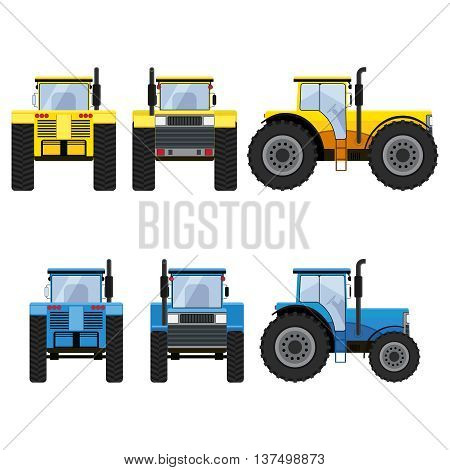 Yellow and blue tractors with big wheels isolated on the white background. Front, rear and side views.