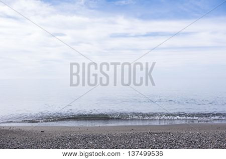 Beach by Lake Erie in Misty Morning