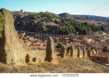 Ancient wall at medieval town of Daroca, Teruel, Aragon, Spain
