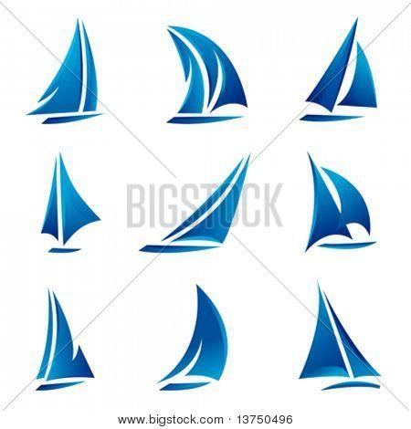 sailboat symbol set