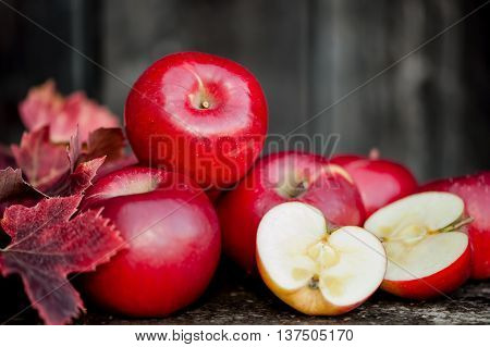 Organic Fresh Apples On Wooden Background In Autumn Harvest At L