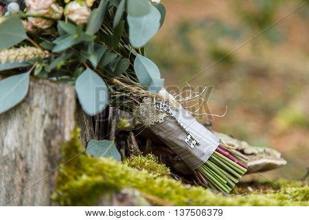 Beautiful wedding bouquet, close up vies of decor