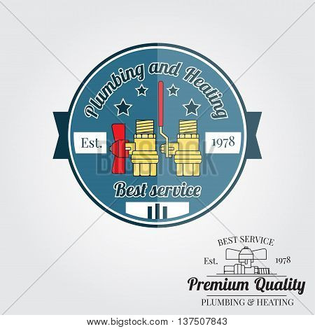 Vintage Plumbing Service Badge, Banner Or Logo Emblem.elements On The Theme Of The Plumbing And Heat