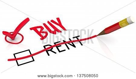 Buy instead of rent. Red pencil crossed out the word