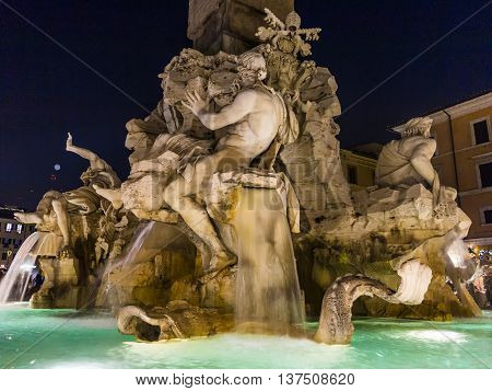 Four Rivers Fountain Designed By Bernini. Piazza Navona, Rome