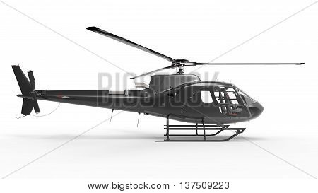 Black civilian helicopter on a white uniform background. 3d illustration