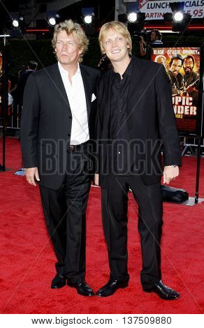 Nigel Lythgoe and Simon Lythgoe at the Los Angeles premiere of 'Tropic Thunder' held at the Mann Village Theater in Westwood, USA on August 11, 2008.