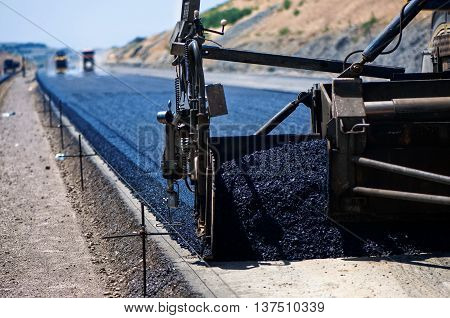 Industrial Pavement Truck Laying Fresh Asphalt On Construction S