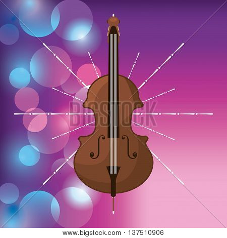 Music and Instrument concept represented by cello icon over blurred background. Colorfull and flat illustration.