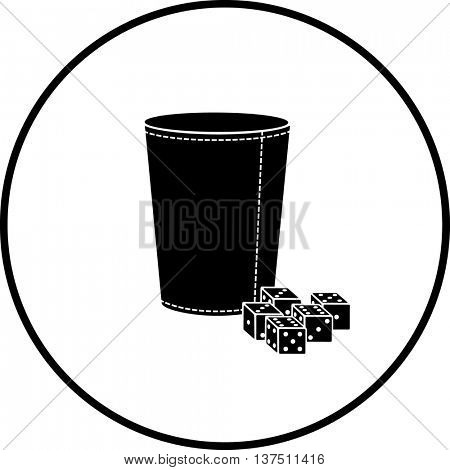 dice cup with dices symbol