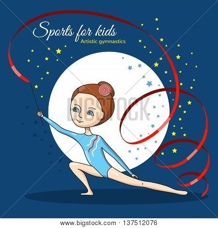 Artistic gymnastics. Girl in blue gymnastic leotard. Speech with red ribbon. Vector character in a cartoon style.