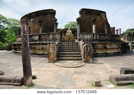 Ruins of an ancient temple in Polonnaruwa Sri Lanka