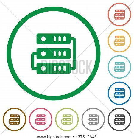 Set of Servers color round outlined flat icons on white background