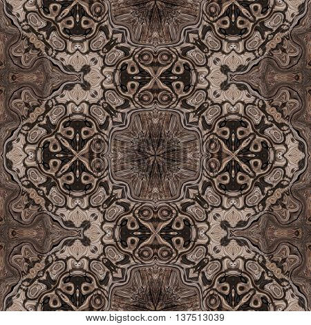 Brown ornamental persian or arabic soft carpet with floral arabesque pattern made seamless