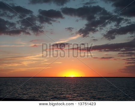 A stunning sunset showing the last glimpse of light over Lake Erie
