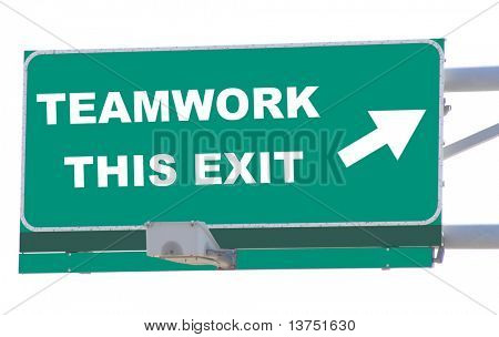 Exit sign concepts teamwork this exit isolated