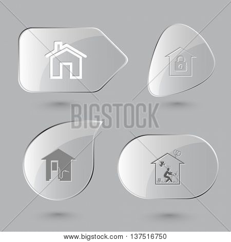 4 images: home, bank, car fueling, home inspiration. Home set. Glass buttons on gray background. Vector icons.