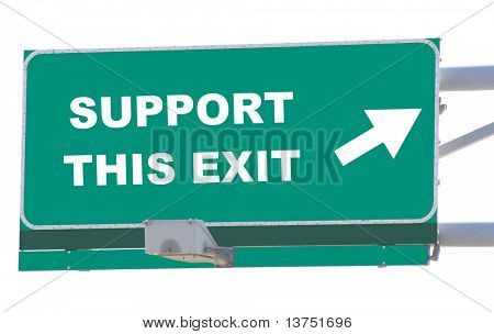 Exit sign concepts support this exit isolated