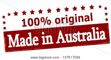 Rubber stamp with text made in Australia inside vector illustration