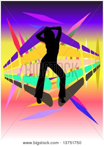 A dancing woman silhouette vector with a cool disco background