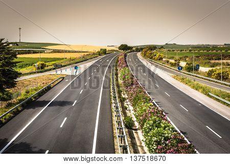 Aerial view of lanes highway in Spain Europe .
