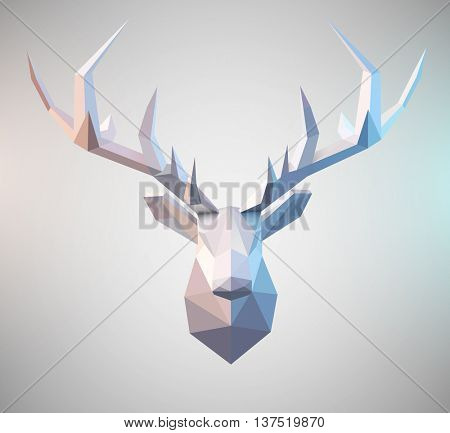 Polygonal vector low poly deer illustration Stag graphic element for designs. 3d paper fold design effect.