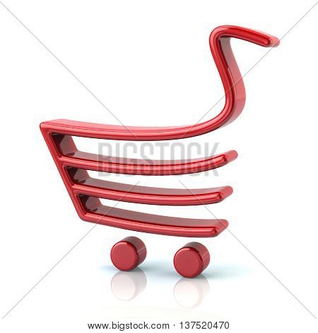 3D Illustration Of Red Shopping Cart Icon