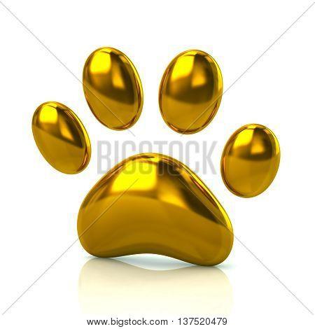 3D Illustration Of Golden Paw Print Icon