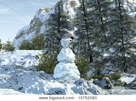 Snowman standing proud with a smile on its face.