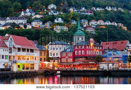 Historical Buildings On The Street In Bergen , Norway