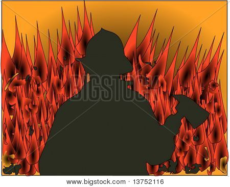 Fireman silhouette with flames in the background vector
