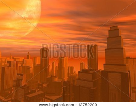 A city during sunset. With a large moon or planet