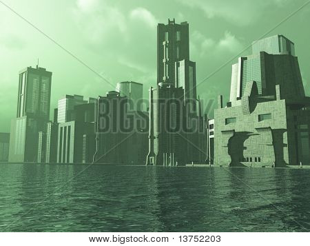 A Alien city on the water. Could be somewhere on the earth as well