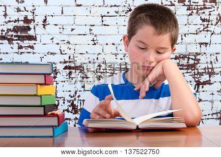 Elementary Schoolboy Focusing On His Studies