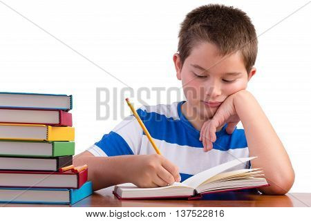 Young Dedicated Middle School Male Kid Studying