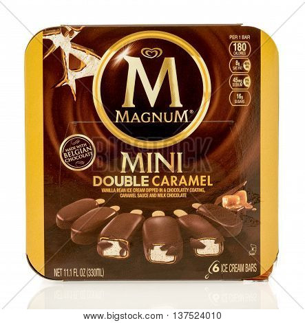 Winneconne WI - 1 July 2016: Box of Magnum mini double caramel bars on an isolated background