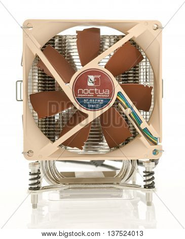 Winneconnie WI - 5 July 2016: A Noctua fan and heat sink on an isolated background.