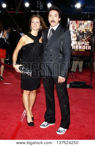 Robert Downey Jr. and Susan Downey at the Los Angeles premiere of 'Tropic Thunder' held at the Mann Village Theater in Westwood, USA on August 11, 2008.