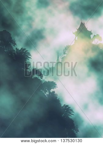 Editable vector illustration of a Buddhist temple in misty mountains made using gradient meshes