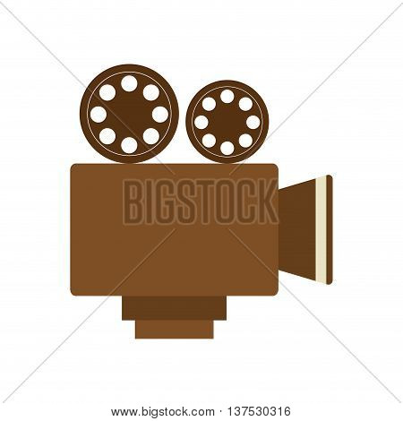 Movie concept represented by Videocamera icon. isolated and flat illustration