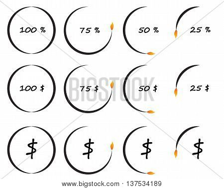 Timer or counter of per cent and dollars conceptual vector illustration business and finance elements. Countdown icons collection